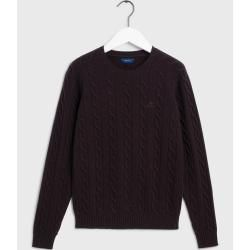 Photo of Gant Lambswool Pullover mit Zopfmuster (Braun) GantGant