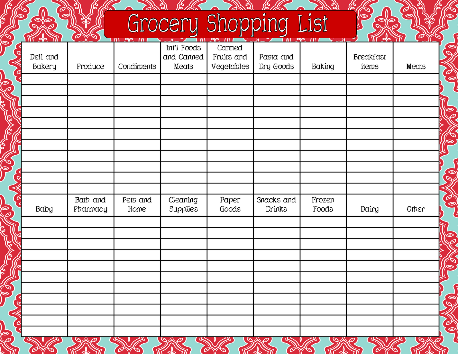 Grocery Shopping List Printable