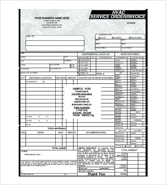 Hvac Service Order Invoice Templates  Hvac Invoice Template  What