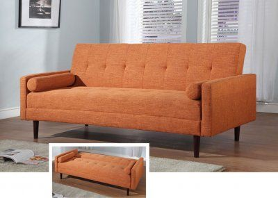 Orange Fabric Contemporary Sofa Bed Convertible | decor ...