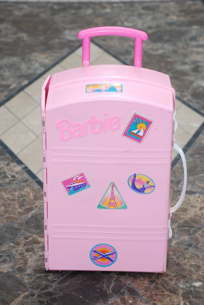 Barbie Take Along Travel Case Fold Out House Rolling Suitcase 1995 Mattel Travel Case Barbie Wheeled Suitcase