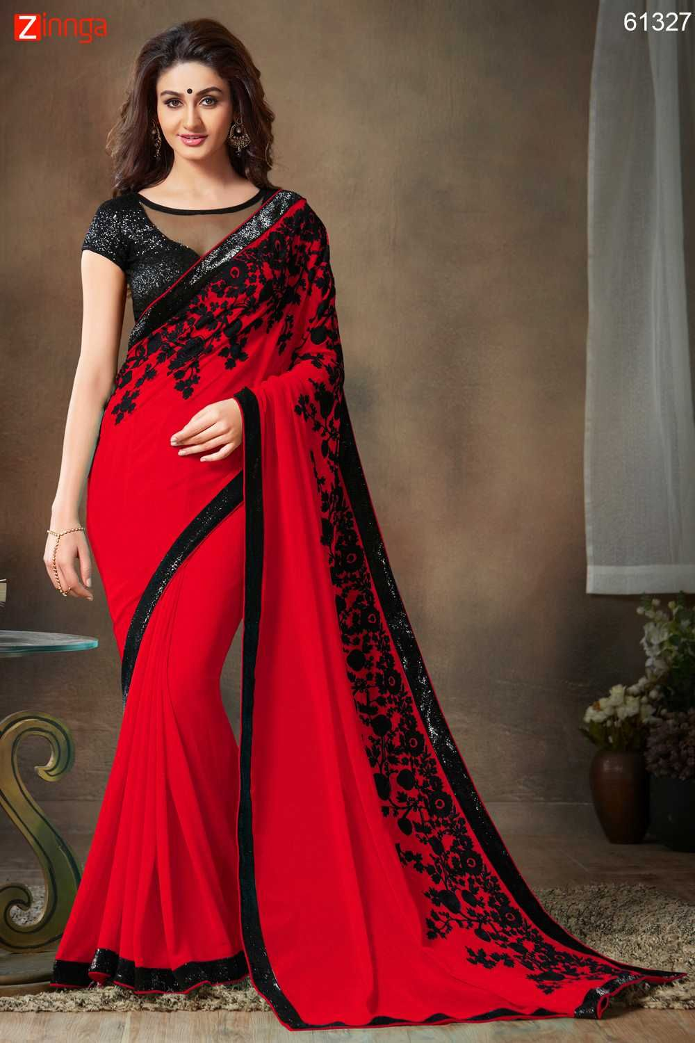 a53aa7e4153ee6 Pretty Embroidered Pallu Saree in Deep Scarlet Color Message call WhatsApp  at +91-9246261661 or Visit www.zinnga.com