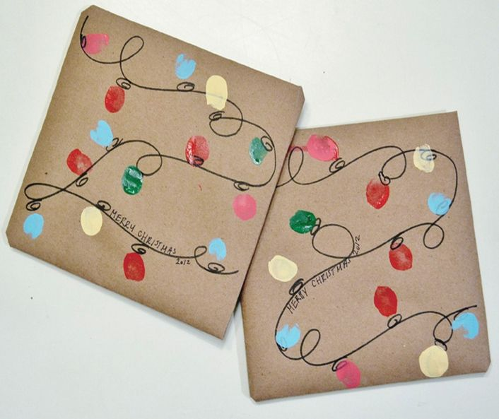 DIY Cute Christmas Gift Wrap Ideas  Thumbprint Christmas Lights, Can Do As  Canvas, Apron, Shirt.so Many Options! Ideas