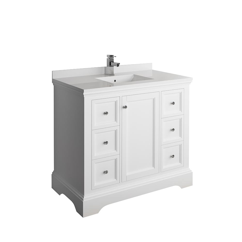 Fresca Windsor 40 In W Traditional Bathroom Vanity In Matte White