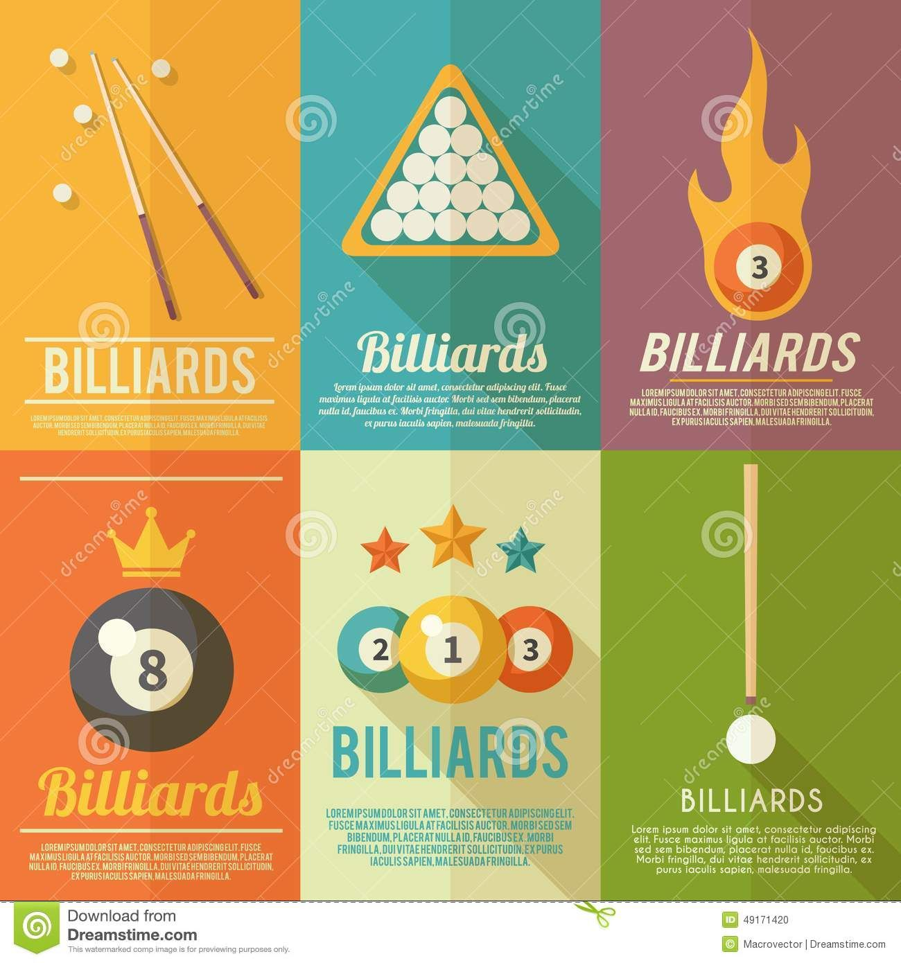 Billiards poster set download from over 46 million high for Pool design 1970