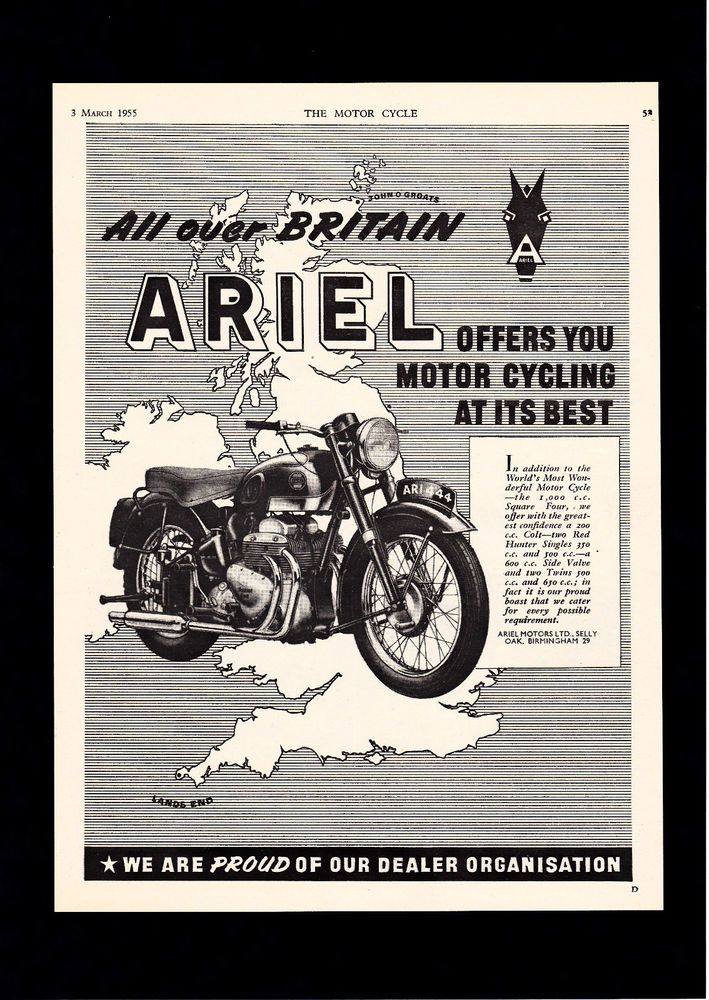 65ca55b85a2e9d462f470f614ce5a68c march 1955 ariel square four 4 4g 1000 1000cc motorcycle magazine Ariel Square Four- Engine at n-0.co