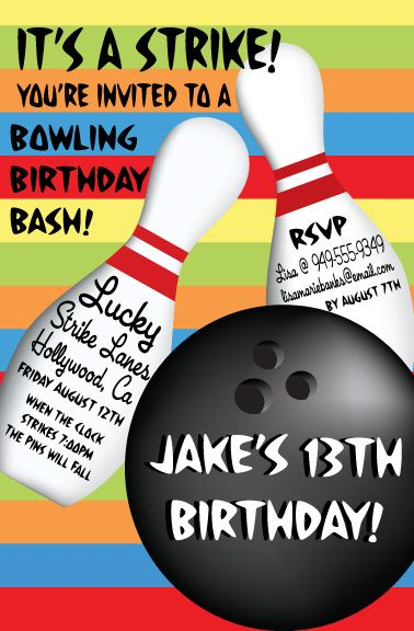 Strike Out Bowling Birthday Invitation