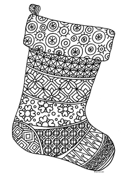 Christmas Stocking Zentangle Coloring Page Christmas Coloring Sheets Christmas Coloring Pages Christmas Colors