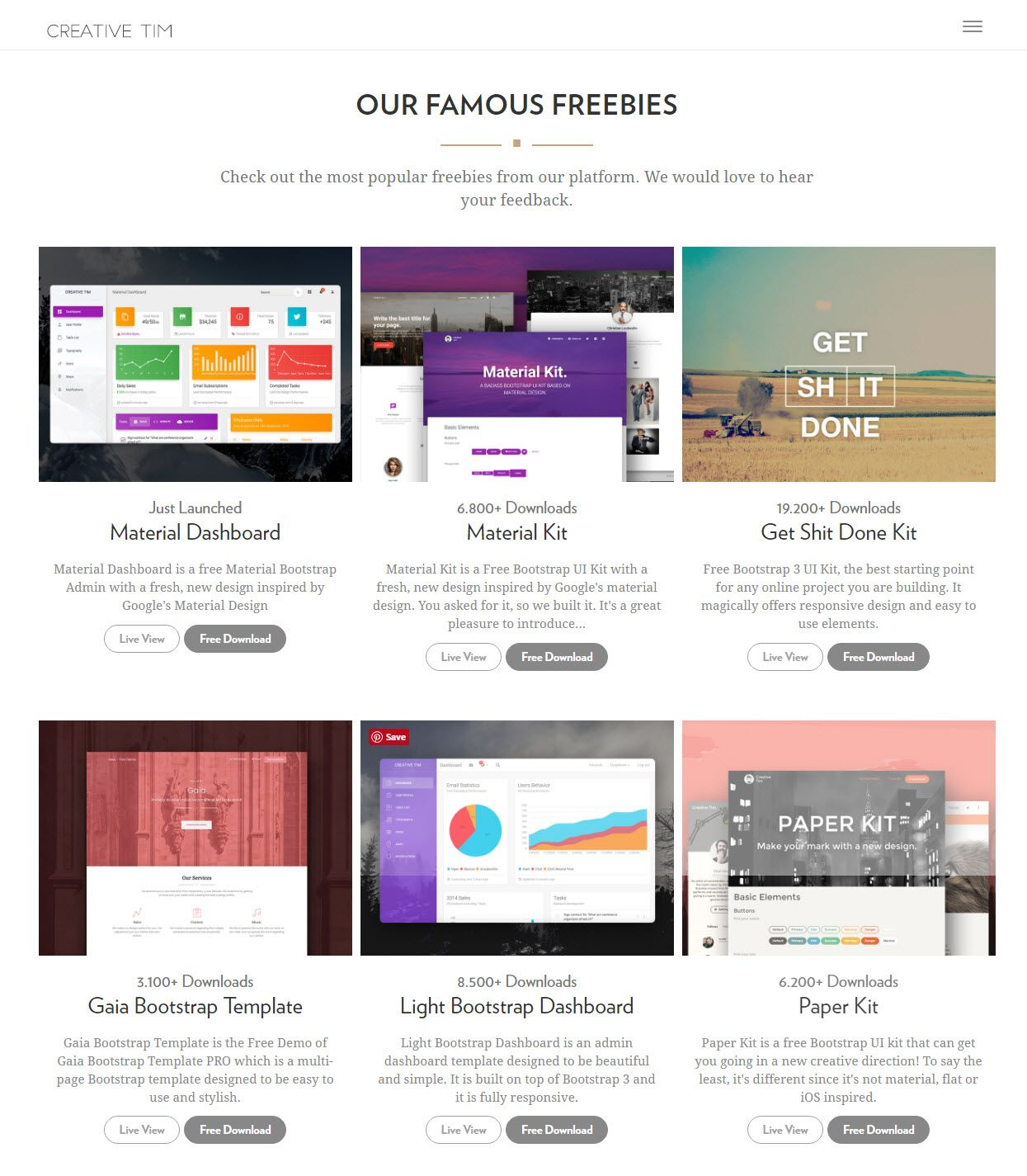 Creative Tim offers Bootstrap based design elements speed