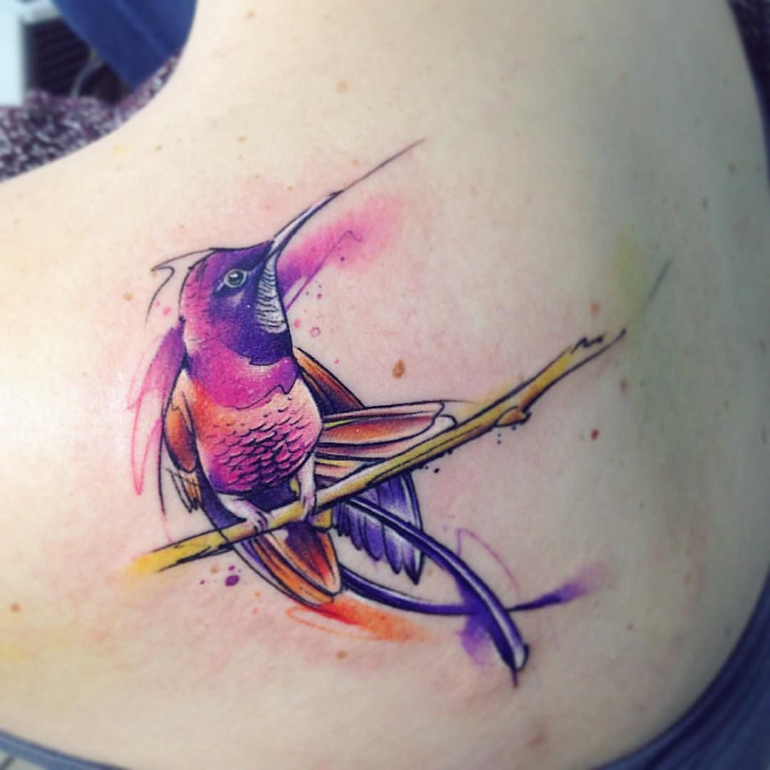 Topaz AB #tattoo #tatuaje #colors #watercolor #ab #adrianbascur #colibritopaze #bird #colibri #ave #aquarelle