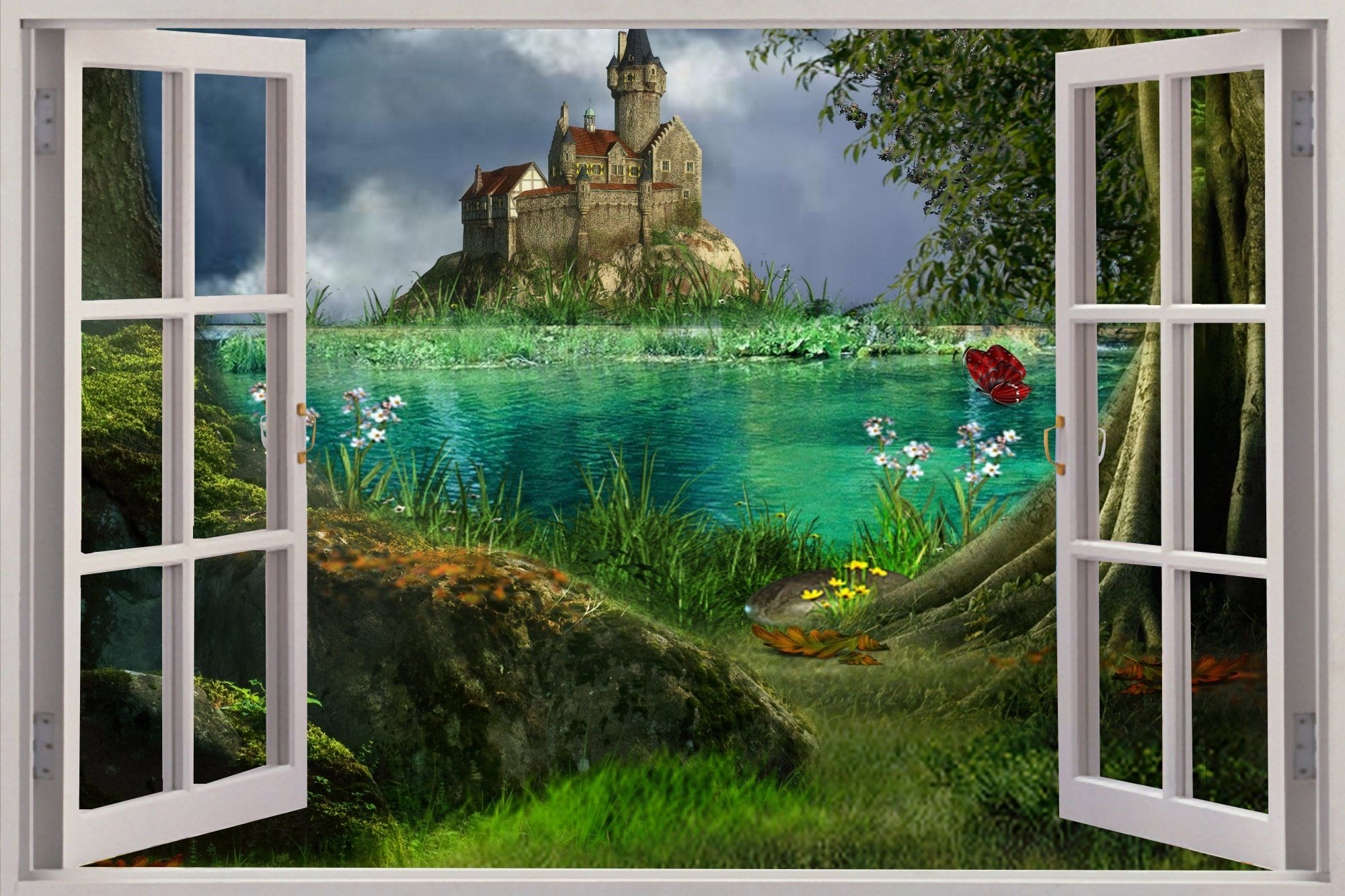 3d wall murals details about huge 3d window enchanted for Enchanted forest mural
