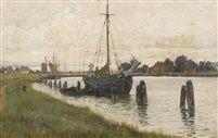 """Walter Moras (German, b. ca. 1856–1925), """"Flussufer mit Segelschiff in Norddeutschland"""". oil on artist board,  31 x 46 cm."""