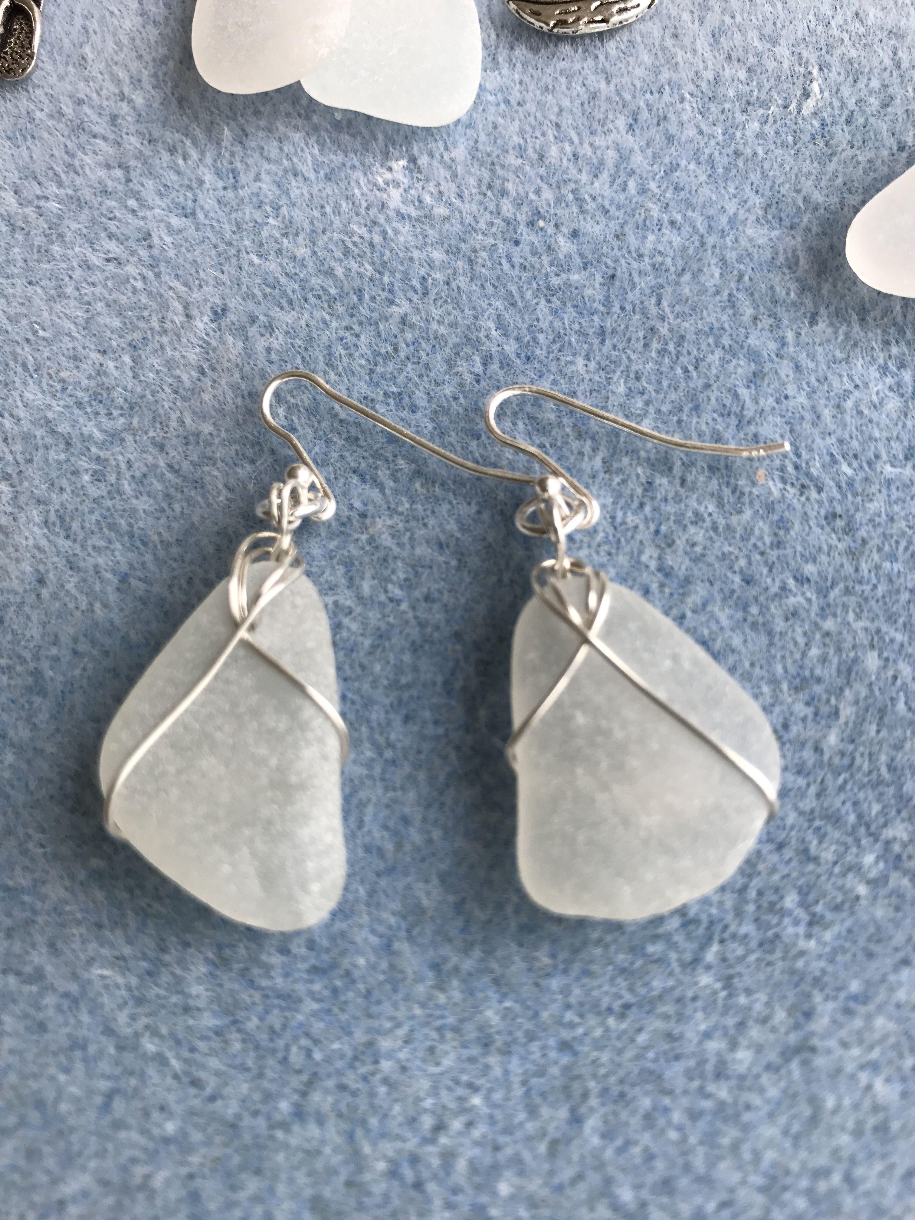 Sterling silver, wire wrapped earrings! | Beach glass beauty ...