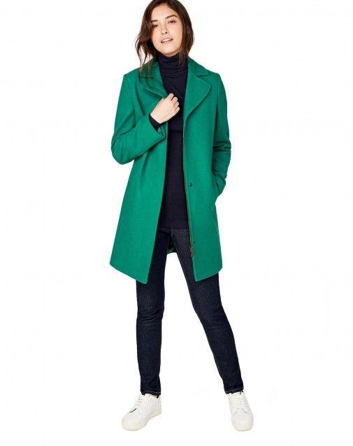 Cappotto collo a revers Verde - Donna  5ec6ae36c06