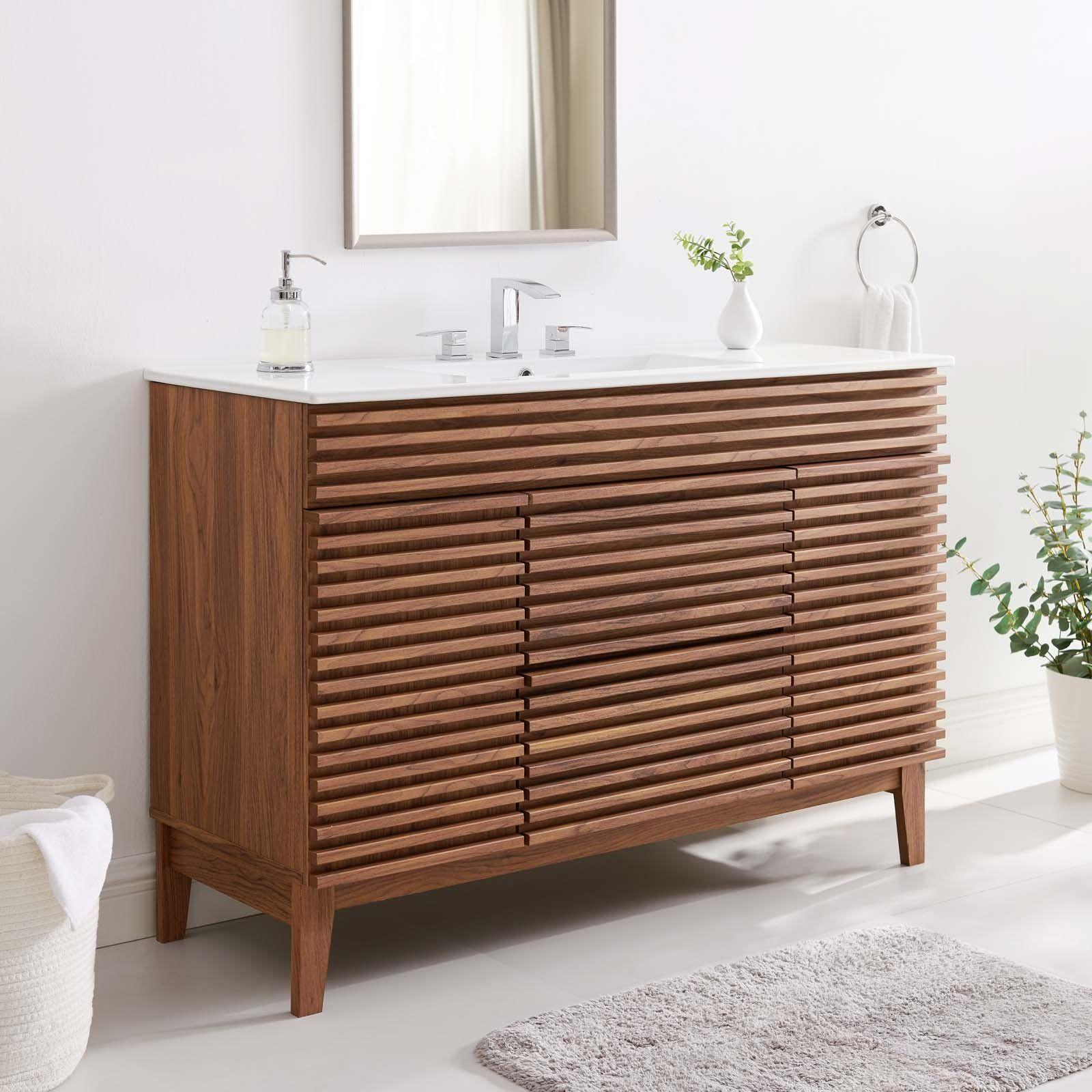 Render 48 Single Sink Bathroom Vanity In Walnut White Lexmod Single Sink Bathroom Vanity Single Bathroom Vanity 48 Inch Bathroom Vanity [ 1600 x 1600 Pixel ]