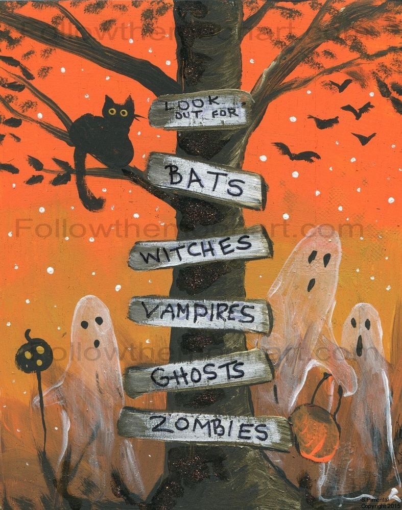 black cat look out for ghosts vampires zombies bats witches wall art