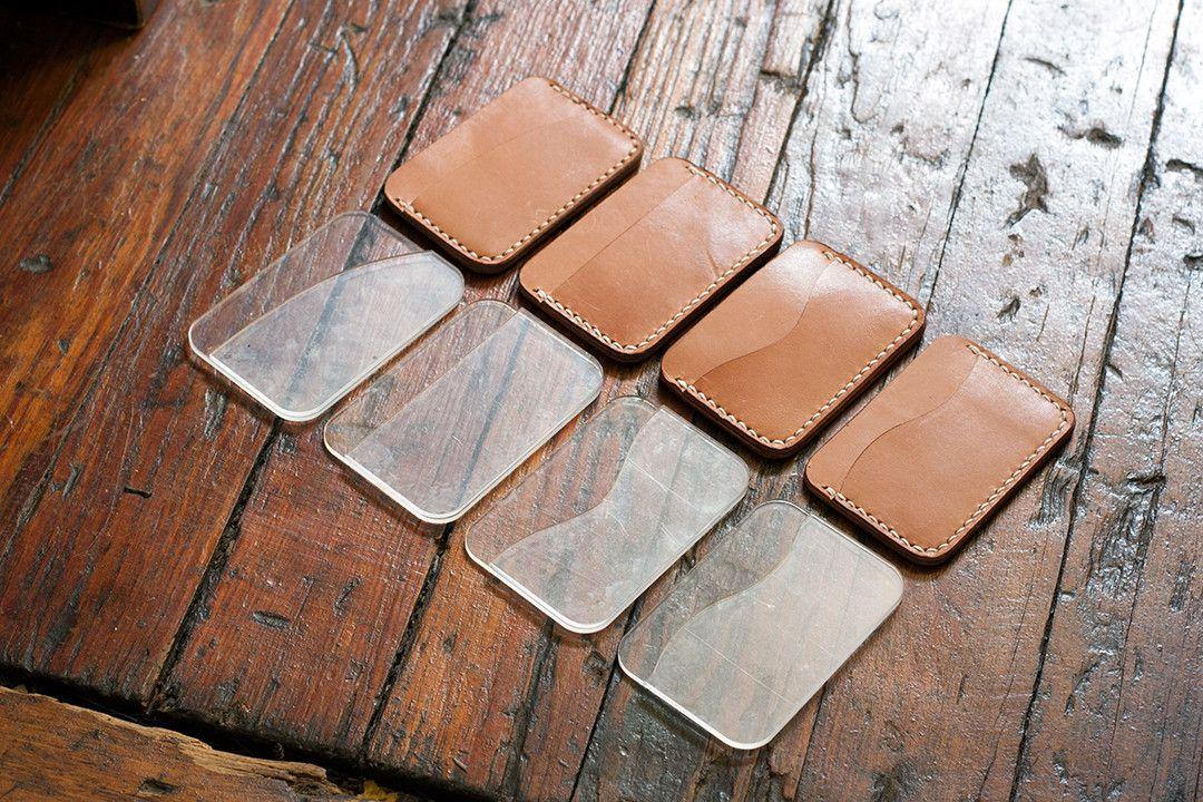 leather card holder 3 pocket acrylic template