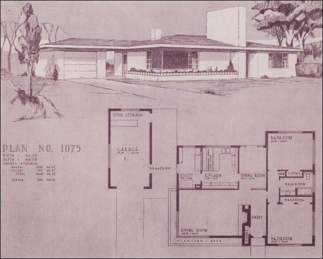 Design no 1075 1948 homes home building plan service for Mid century ranch house plans