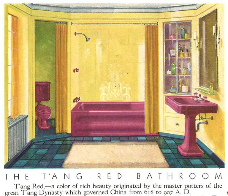 Photo of Romantic reds: T'ang Red, Rouge, Persian Red, and more – in bathroom fixtures! – Retro Renovation