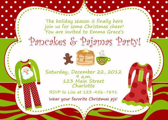 Pancakes And Pajamas Christmas Party Invitation Slumber Birthday