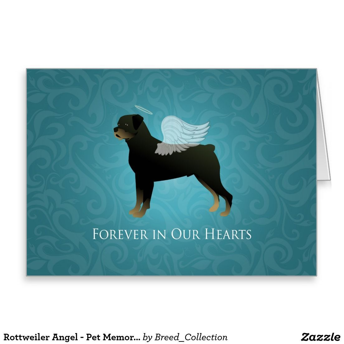Rottweiler Angel Pet Memorial Design Greeting Card With Images