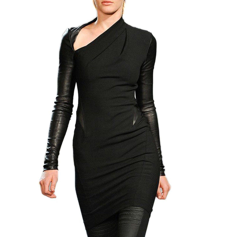 Preself womens cool stylish irregular leather sexy long sleeve