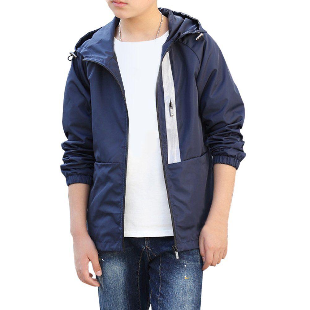 30e16b2de0c6 Zhuhaitf Boys Zipper Casual Hoodies Outwear Kids Simple Solid color ...
