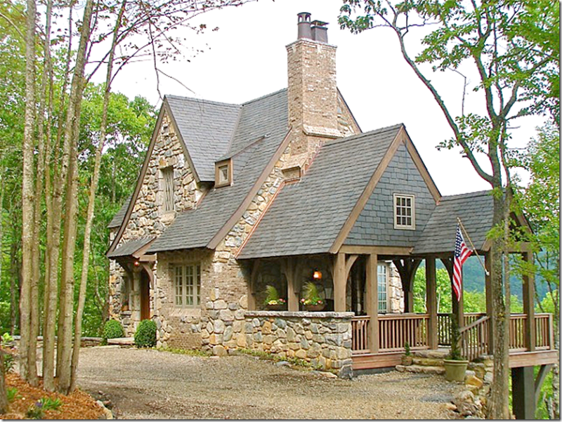 Stone cottage in the mountains of north carolina via cote for Mountain cottage home plans