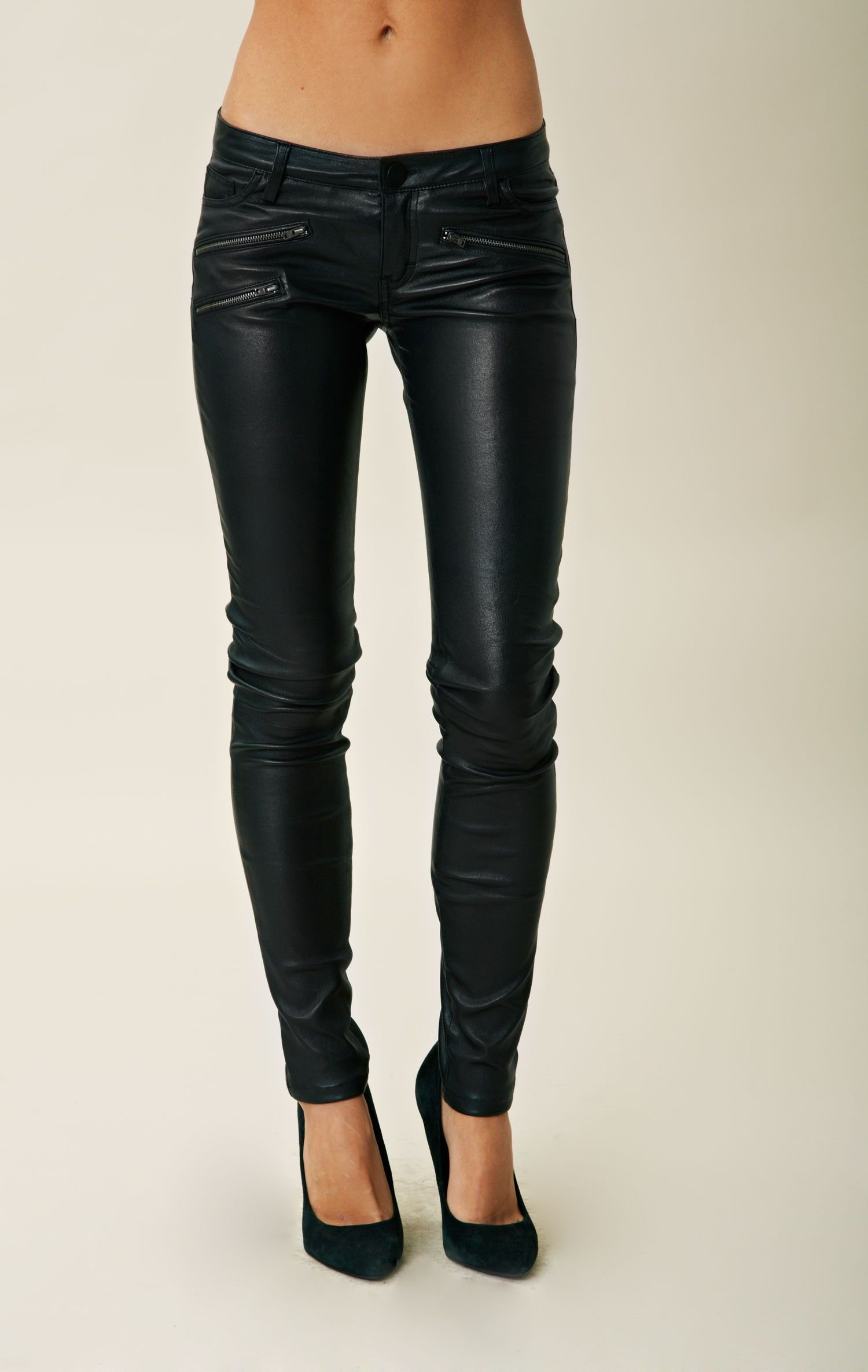 439858f66f black leather pants/leggings with zipper/button/pockets Beautiful!!!!!! Luv  them!