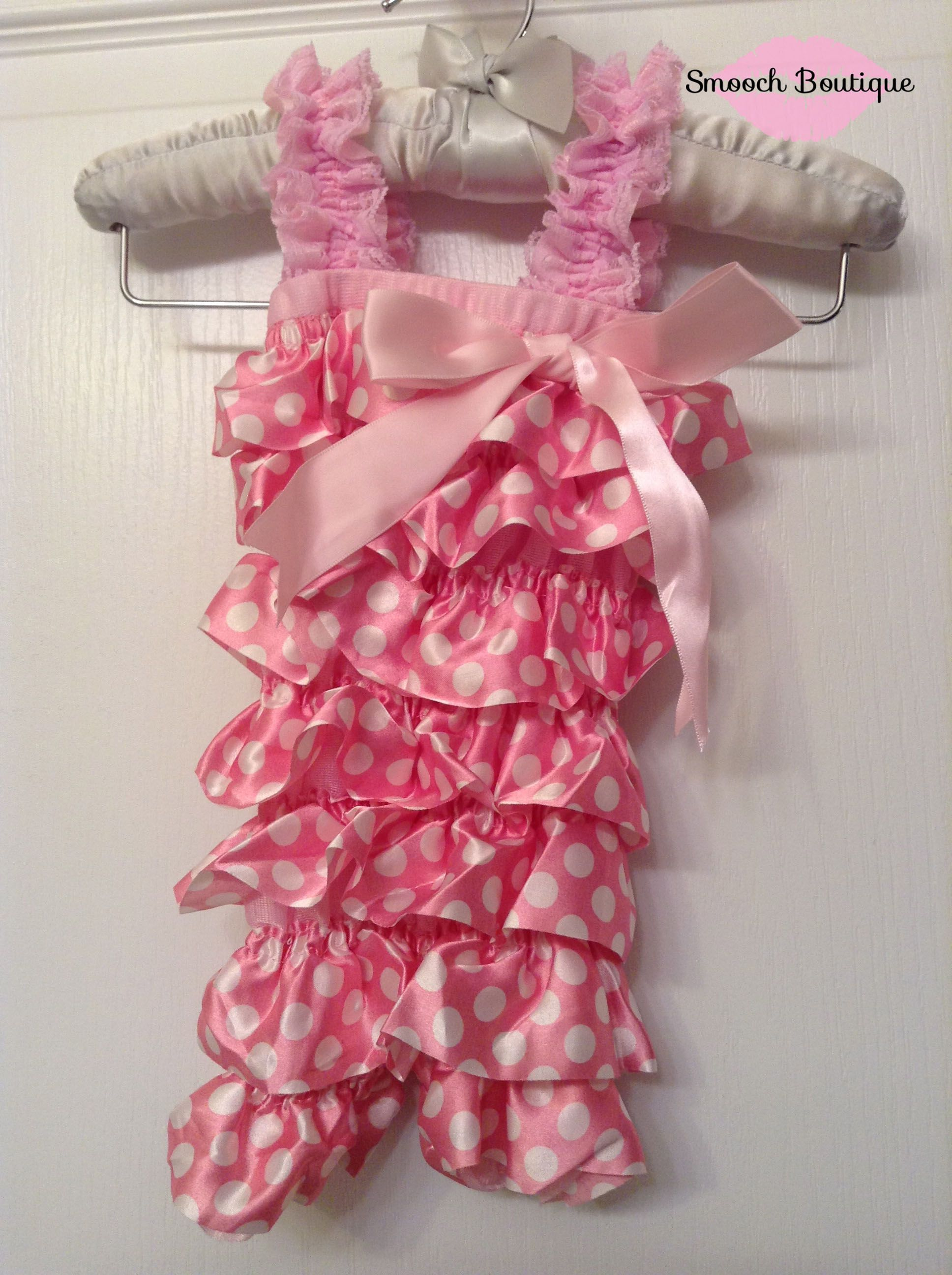 0959fe9e3f5c Soft Pink   White Polka Dot Satin Ruffle Petti Romper — Smooch Boutique
