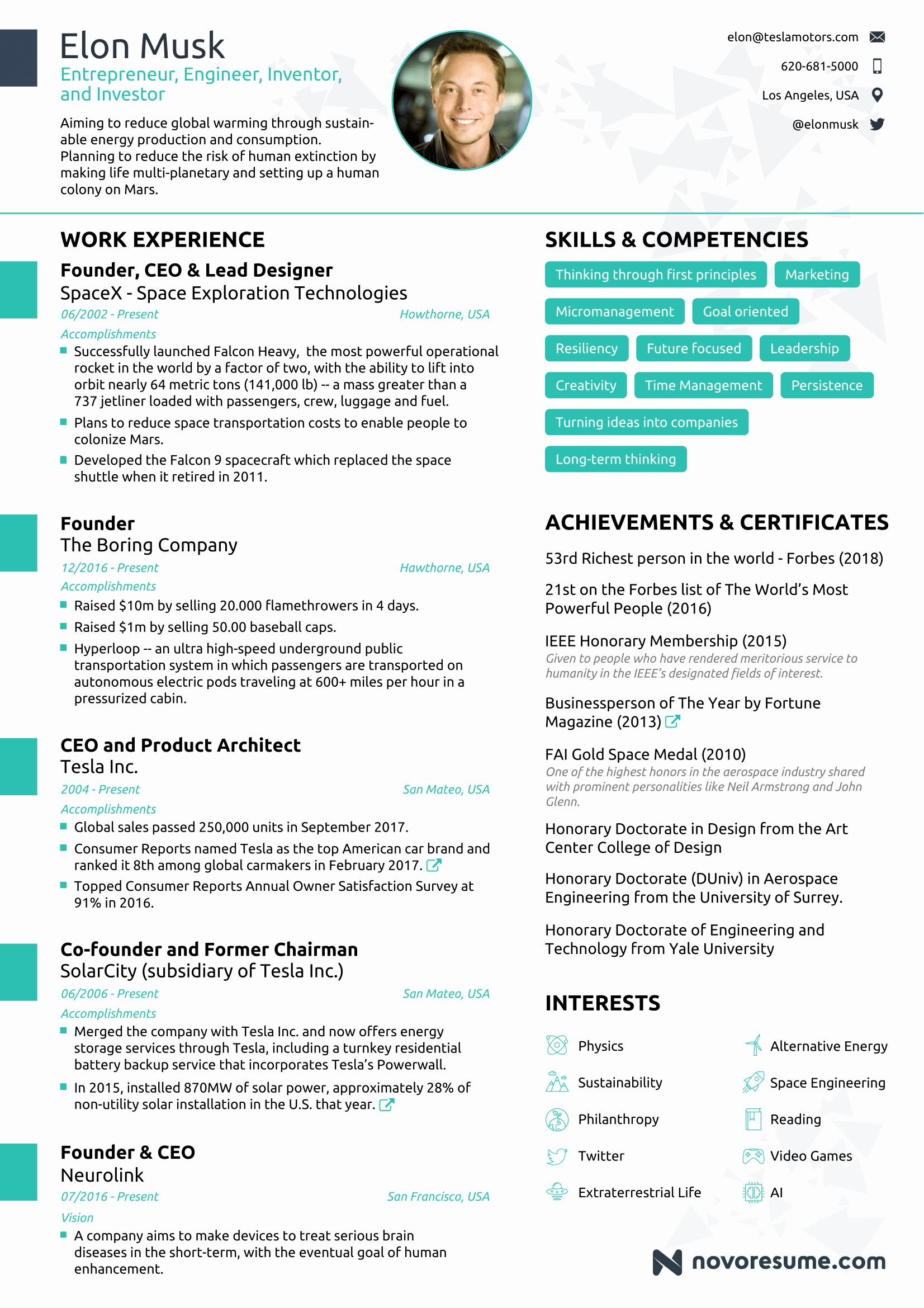 1 Page Resume Template Best Of the Résumé Of Elon Musk by