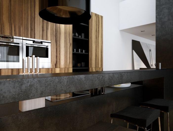 ▷ 1001 + exemples sublimes de la cuisine noire et bois Cuisine