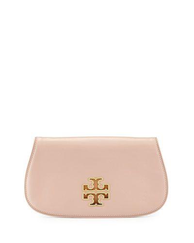 Tory Burch Britten Indian Rose Leather Clutch Bag - $350.00