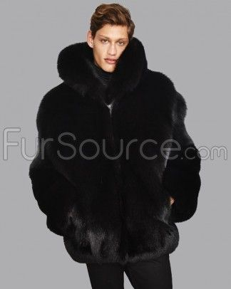 a3435bb336 Mid Length Black Fox Fur Coat for Men | Lavert Bogart | Mens fur ...