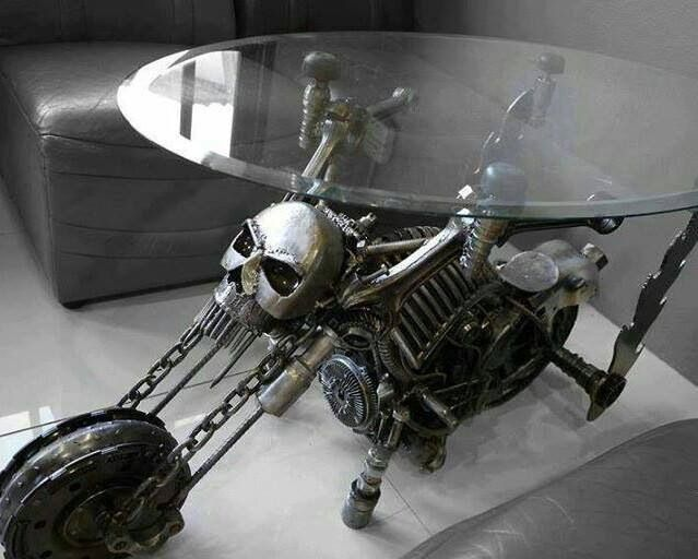 Awesome///must have skull/motorcycle coffee table - Awesome///must Have Skull/motorcycle Coffee Table Moto Castom