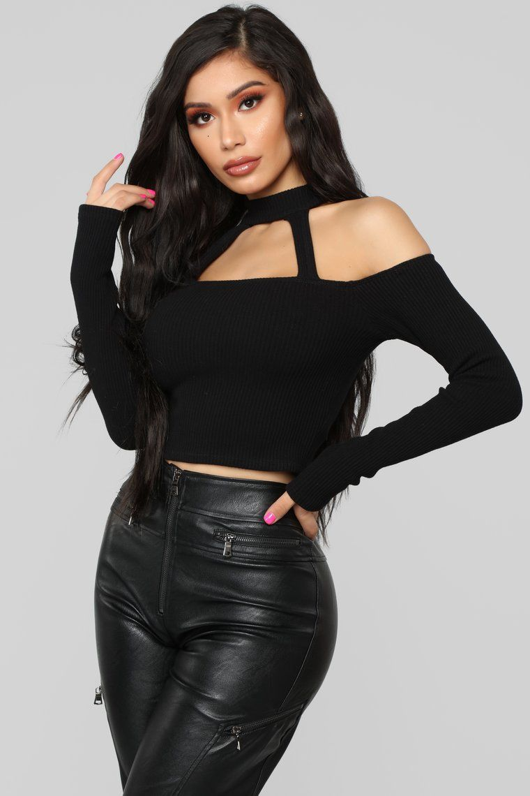 17803fdfc520f0 Available In Black Off Shoulder Ribbed Long Sleeve Strappy Detail Cropped 96%  Cotton 4% Spandex
