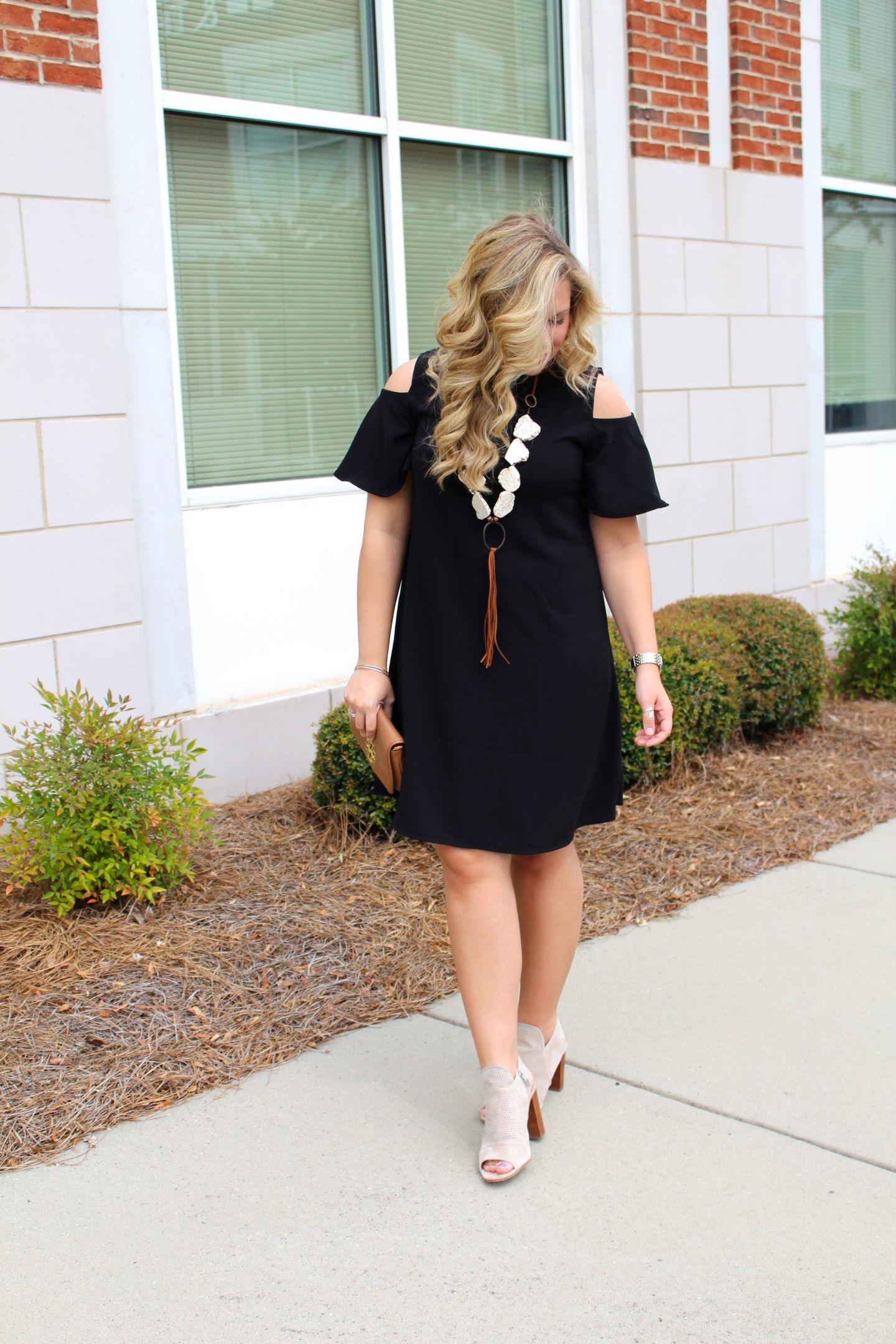 Black Cold Shoulder Dress Tan Ankle Boots Stone Necklace Black Cold Shoulder Dress Plus Size Fashion Fashion [ 2160 x 1440 Pixel ]