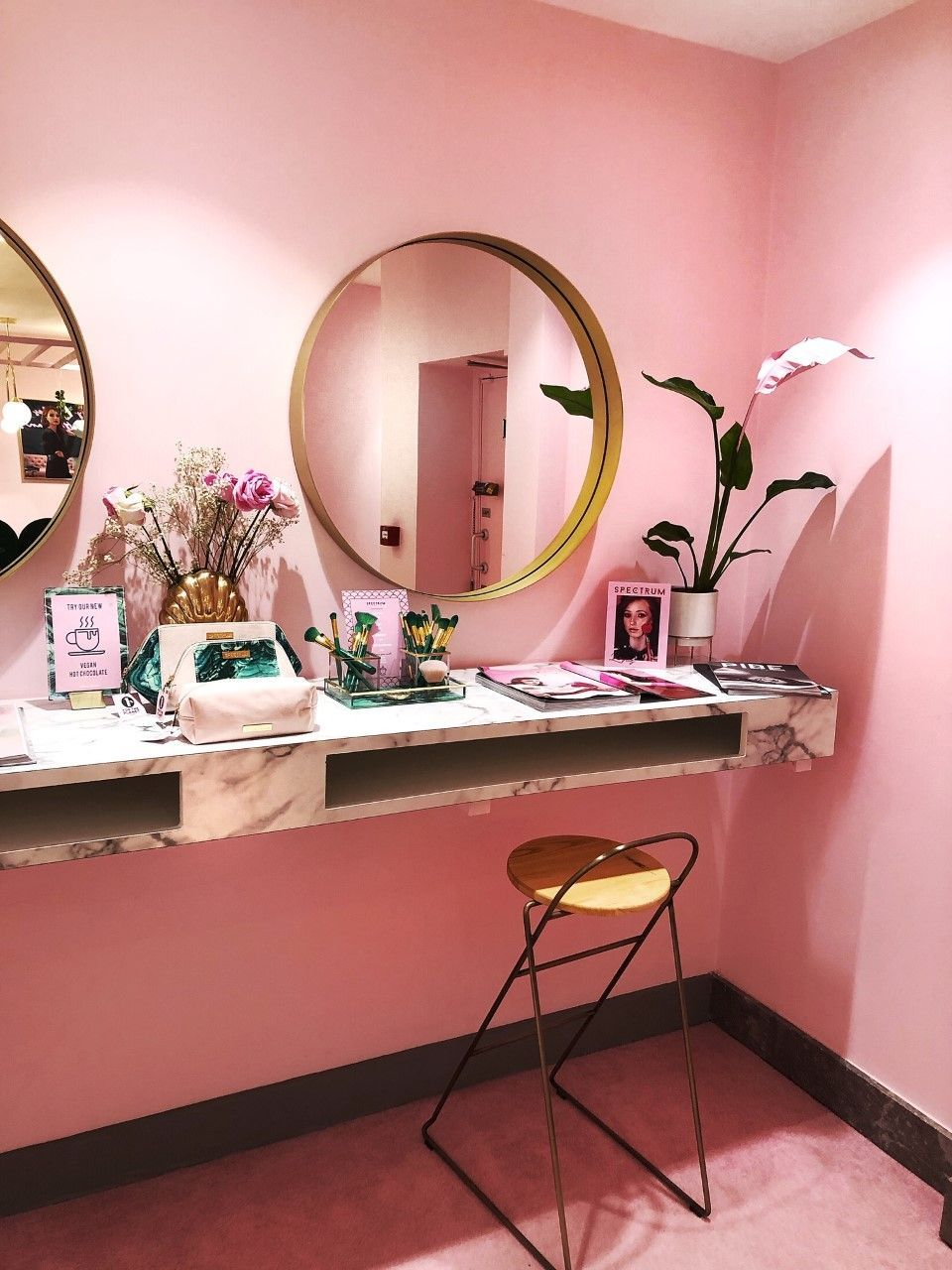 Pink and marble interior inspiration. Pastel pink walls