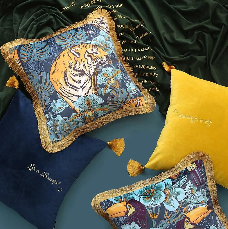 Details about  /Tiger And Peacock Cushion Cover Pillow Case Sofa Throw One Piece