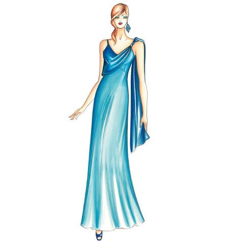 F3458, Marfy Dress Long negligee dress featuring panel held at shoulder with torchon strap that can be left loose at the back like a stole or fastened at the opposite side to create a drape. The bias-cut skirt has a flounced hem. Can be made in satin or cady with chiffon panel.