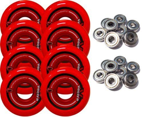 KRYPTONICS VECTRA 64mm 82a Inline Wheels SET OF 8 INCLUDES ABEC 5 BEARINGS by TGM Skateboards. $22.99. This is a complete set of new inline wheels. You can use this combo package to completely upgrade your wheels, and bearings. The wheels are 64mm 82a which is a size that will fit on almost any skate, and are poured with high quality urethane. The bearings are rated abec 5 and have steel shields to keep dust and other contaminates out.
