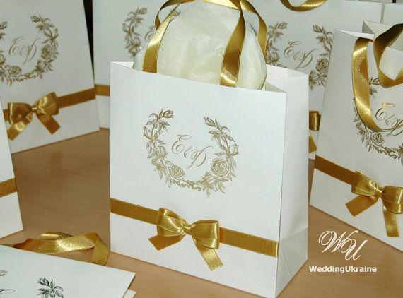 Personalised Wedding Gifts For Guests: 100 Wedding Logo Gift Bags With Gold Satin Ribbon, Bow And
