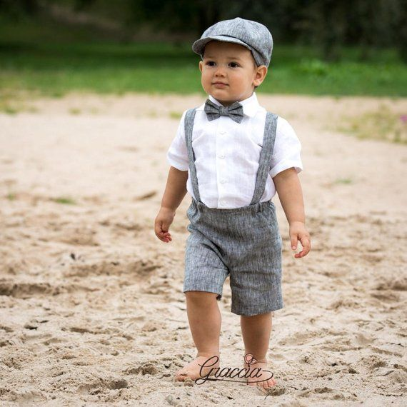 00b34aa1e Ring bearer newsboy outfit Baby boy linen suit Wedding boy formal outfits  Shorts Suspenders Newsboy