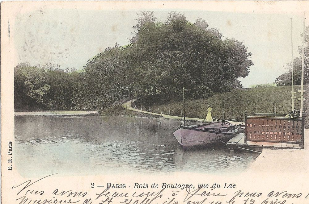 Bois de Boulogne from a postcard postmarked June 5, 1906 ...