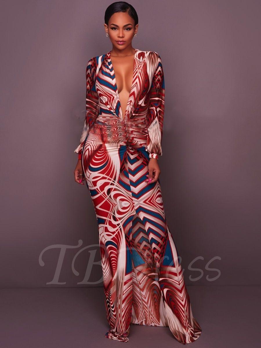 4b9eace026a627 Deep V Neck Long Sleeve Women s Maxi Dress - m.tbdress.com