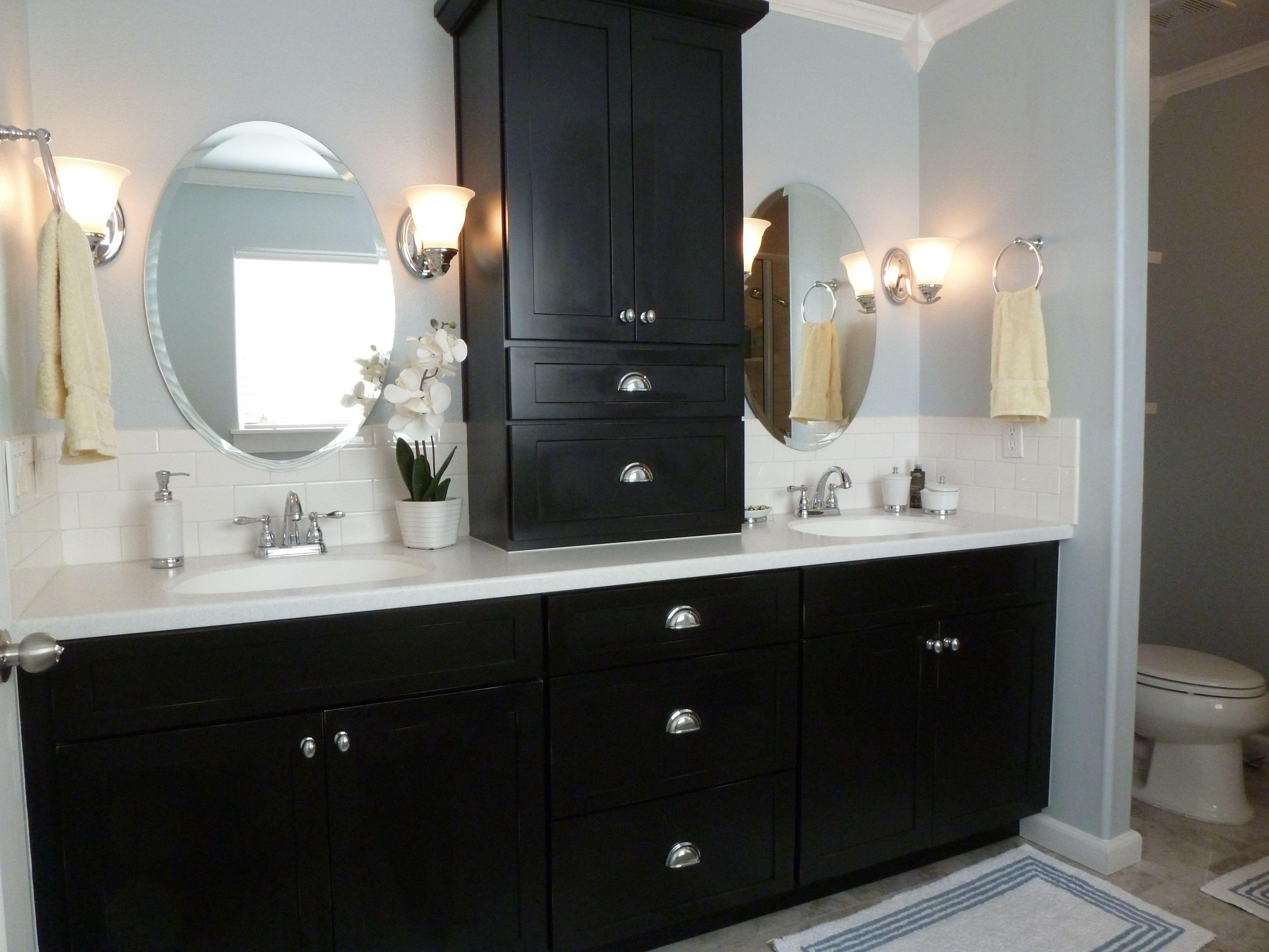 "The Bathroom Benjamins – Aka ""the Budget"" Dark Vanity Bathroom"