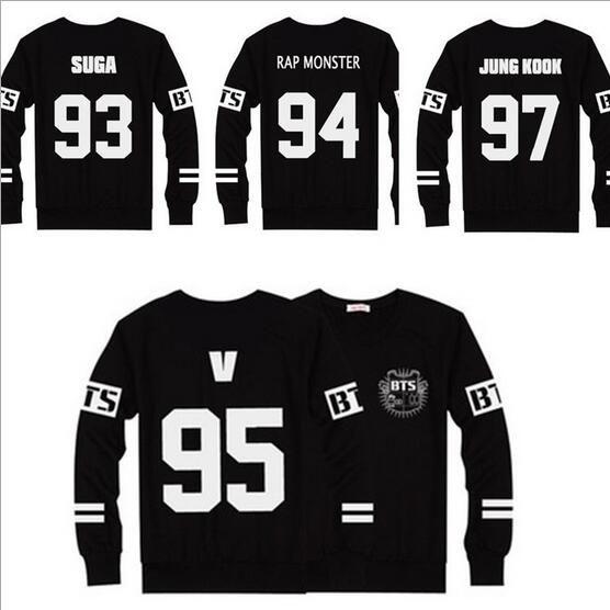 c155b0de5280c Cheap Nueva BTS Camisetas de Béisbol Negro T Shirt Hombres Mujeres Casual  Tops Manga Larga Camisetas