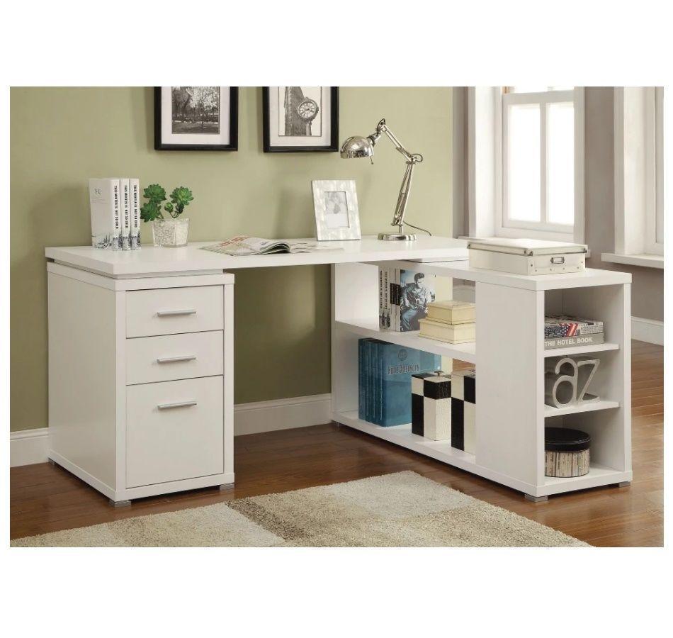 Corner Desks For Home Office L Shaped Storage Drawers White Shelves Computer Coasterfurnit Computer Desks For Home L Shaped Executive Desk White L Shaped Desk