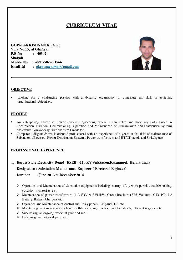 Entry Level Electrical Engineer Resume Best Of Electrical Engineer Cv In 2020 Engineering Resume Job Resume Samples Job Resume Format