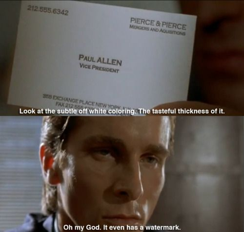 bateman lifts up the card and stares at it american psycho quotesamerican colourmoves Gallery